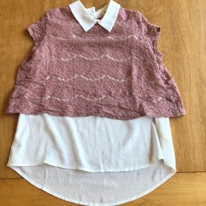 Dusty Pink Lace Collared Blouse